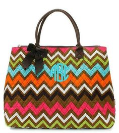"""Personalized Brown Multi Chevron 16"""" Large Quilted Tote Bag - Brown"""