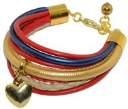 Bransoletka z rzemieni w kolorach: czerwony, granatowy, złoty i beżowy, z ozdobną zawieszką sercem.