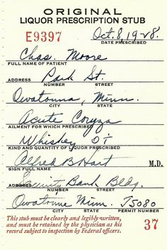 Old 1928 Prohibition Cold Whiskey Prescription / speakeasy