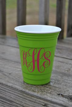 Reusable Monogram/Saying Solo Cup made to order by DreamThread, $10.00