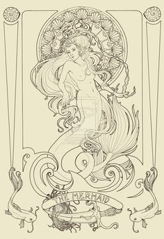 The Mermaid lineart by *WildZyria on deviantART