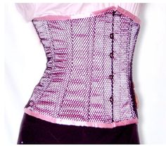 """Satin underbust corset, with black mesh overlay.  8 steel bones, side bones are flexy spiral sprung steel ideal for waist shaping,  100% cotton lining with inner grip tape  and a steel corset busk,  5"""" Modesty back panel and back lacing using strong cotton laces.     All corsets take up to 15 working days to make.  Sizes 2XS - 12XL. Waist sizes from 24"""" - 56""""  UK Dress sizes from 8 - 40  For specific custom sizes there is a no return policy. (1917)"""