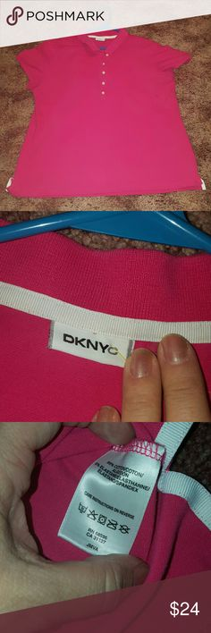 DKNY~  PINK POLO ~ NWOT  Perfect casual or Dressy Juniors XXL ~ DKNY NEW WITHOUT TAGS ~  PINK POLO PERFECT FOR DRESSY OR CASUAL WEAR ~ 95% COTTON 5% ELASTIN. MOVING AND MUST SELL ENTIRE CLOSET DKNYC Tops Blouses