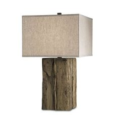 Currey and Company 6522 Beam Table Lamp with Putty Burlap Shade and 3-Way Switch