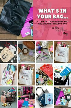 What's in your Bag. A look in top designers knit and crochet project bags. Yarn Projects, Knitting Projects, Crochet Projects, Knit Or Crochet, Crochet Blogs, What's In Your Bag, Knitted Bags, Fun Learning, Top Designers