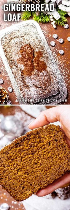 Gingerbread Loaf! This easy gingerbread loaf combines the classic taste of gingerbread cookies inside a soft and moist home baked bread. Perfect for holiday snacking or gifting! | HomemadeHooplah.com