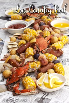 Take the afternoon off and slow the world down with this Low Country Boil. It feeds a crowd, so call the neighbors over for a feast! Low Country Boil SpicesInc spicesinc Seafood Take the afternoon off and slow the Seafood Boil Recipes, Seafood Dishes, Fish Recipes, Great Recipes, Shrimp Boil Party, Shrimp And Crab Boil, Low Country Boil, Boiled Food, Main Meals