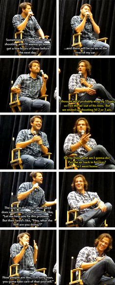 Misha talking about Jared's pranks where he lets air out of his tires before he goes home after late nights of shooting.