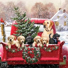 Vintage Christmas Home for the Holidays Red Truck Puppies 1 print on fabric FB Christmas Red Truck, Christmas Scenes, Noel Christmas, Christmas Animals, Vintage Christmas Cards, Country Christmas, Christmas Greetings, Winter Christmas, Dog Christmas Pictures