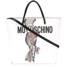 Moschino Rat-A-Porter shoulder bag (€790) ❤ liked on Polyvore featuring bags, handbags, shoulder bags, white, multi color handbag, multicolor handbags, shoulder handbags, multi colored purses and white shoulder bag