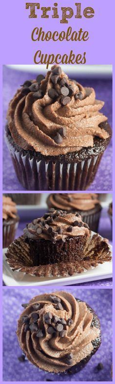 Triple Threat with these cupcakes! Easy moist chocolate cupcakes with chocolate buttercream and chocolate chips on top!