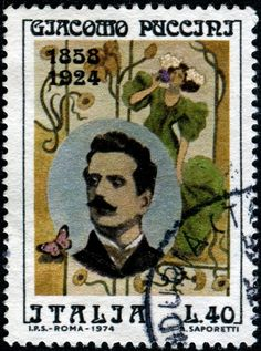 Giacomo  Puccini (1858-1924), Musicians and Composers on stamps. Italian post stamp , circa 1974
