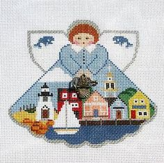 ... Painted Pony Nantucket Angel & Charms handpainted Needlepoint Canvas