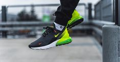 We've seen a ton of high heat colourways such as the brand new Nike Air Max 270 Black Volt,which features a mesh upper that features the logo repeated all over. Nike Air Max, New Nike Air, Air Max Sneakers, Sneakers Nike, Air Max 180, Sneaker Stores, Nike Sportswear, Urban Fashion, Nike Men