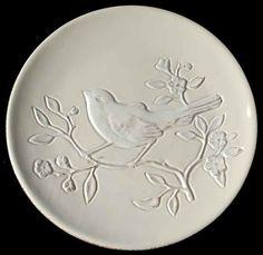 "7.99+8.99  10-1/4""  DINNER NOT SALAD PLATE   Maxcera Corp CERA BLANCA BIRD Dinner Plate 8634571 #MaxceraCorp"