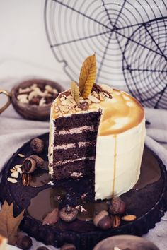 chocolate cake with peanut butter, caramel and nuts.