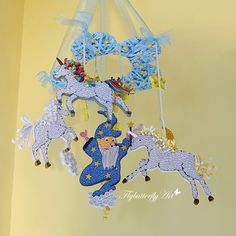 Lucky unicorns with a wizard, stars and the moon, magic quilled baby mobile, handmade paper baby mobile, dream and enchanted baby mobile