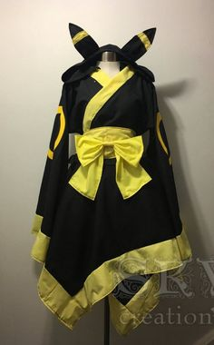 Umbreon Kimono Dress -Wide Collar -Asymmetric Hem with Flat Trim -Flared Sleeves with Flat Trim -Traditional Obi -Graphics on Sleeves and Back -Detachable Hood -Detachable Bow This is a custom order item. Please see the Shipping & Policies for the current Cosplay Dress, Cosplay Outfits, Anime Outfits, Fashion Outfits, Maid Cosplay, Female Cosplay, Casual Cosplay, Casual Outfits, Mode Kpop