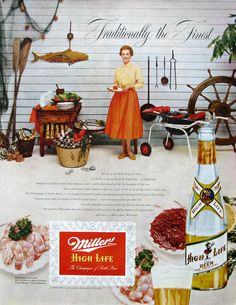 1953 Miller High Life New England clambake ad (from #RetroReveries)