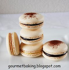Gourmet Baking: The Journey To A Perfect Macaron: Dark Chocolate Nutella Ganache and White Chocolate Passion Fruit Macarons