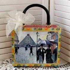 Paris A Rainy Day CIGAR BOX PURSE Altered Art by gmPurseanalities, $28.00