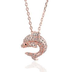 Dolphin Rose Gold Plated Swarovski Elements Necklace