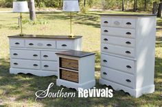 Full Room Furniture Revival | Get the Look - want to redo my bedroom furniture like this.  Stained tops and paint.