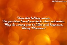Hope this holiday season, For you bring lots of good luck, cheer and smiles, May the coming year be filled with happiness, Merry Christmas! Christmas Messages For Friends, Christmas Thoughts, Merry Christmas, Cheer, Happiness, Seasons, Happy, Holiday, Merry Little Christmas