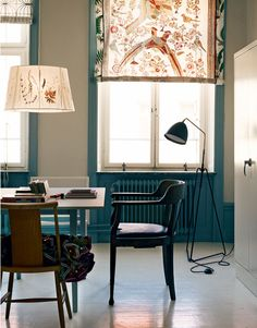 Beautiful patterns - lamp and curtains