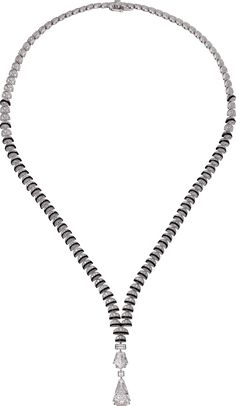 CARTIER. Necklace - white gold, one 5.12-carat and one 1.93-carat D IF step-cut diamonds, black lacquer, baguette-cut diamond, princess-cut diamond, brilliant-cut diamonds. #Cartier #CartierMagicien #HauteJoaillerie #FineJewelry #D/IF #Diamond