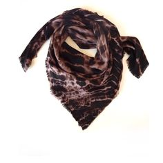 Shera Handmade Brown Wool Scarf A fine pure wool twill weave hand tie dyed abstract animal print scarf. Finished with hand frayed hems on all four sides.  Width: 109 cm / 43″ Length: 109 cm / 43″  100% Wool  Dry clean only.