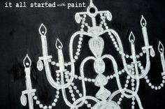 Chalk Art Chandelier