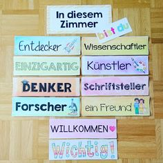 Dank der tollen Inspiration von habe ich heute die erst… Thanks to the great inspiration of today I created the first elements for my classroom door. Elementary Science, Elementary Education, Kids Education, Classroom Door, School Classroom, Kindergarten Portfolio, Classroom Management Plan, Class Teacher, German Language Learning