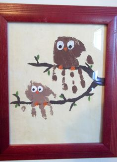 Owl handprint...  once Piper is out of the clenched fist stage, maybe we can make a family of owls!