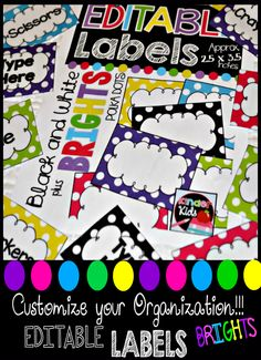 Great for organizing your classroom! Editable to allow you to use any way needed!