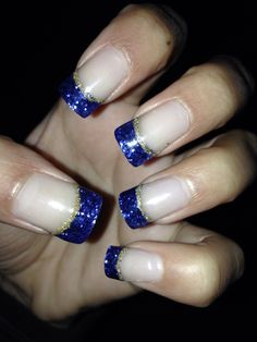 Blue and gold nails!