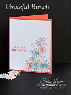 Sara Levin | theartfulinker.com Grateful Bunch handmade card, perfect as a thank you or just because.  Combines challenges CTS154 and CTD374 to make a cute, simple card.