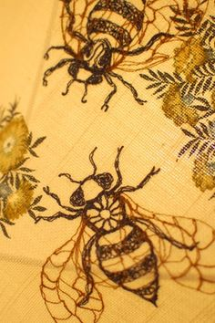 Embroidered bees on a lampshade by Nikki Rose