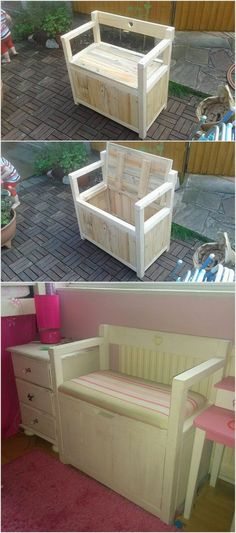 This innovative idea of the wood pallet will make you offer with two in one benefits. This wood pallet recycling idea is being designed in the wood pallet seat. This seat is being making you offer with the storage box too where you can store your much needed accessories and items.