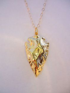 Gold Arrowhead Necklace. Waffles & Honey.