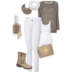 Casual White & Taupe, created by abonney on Polyvore