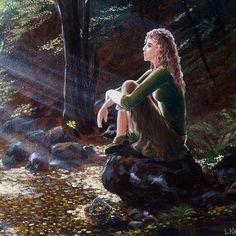 "Картина маслом ""Найди грибочек"". #картинамаслом #картинукупить #картинамасломнахолсте #картинасдевушкой #лучисолнца #l_kravts #lyudmilakravtsova"