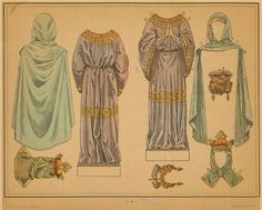 """[Paper doll costumes in the Carolingian style.] Written on border: """"Carolingian."""" Spots on image. Illustration Sketches, Drawing Sketches, Paper Doll Costume, Carolingian, Knight In Shining Armor, Paper Dolls Printable, Paper People, Vintage Paper Dolls, New York Public Library"""