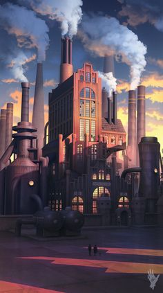 Cyber Max - Factory by AlexShatohin Environment Concept Art, Environment Design, Imagenes Pink Floyd, Steampunk City, Industrial Paintings, Industrial Architecture, Retro Futuristic, Art Graphique, Environmental Art