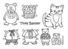 Karen`s Paper Dolls: Bear Paper Dolls Onesheet to Colour. Bamse påklædningsdukker enkeltark til at farvelægge.