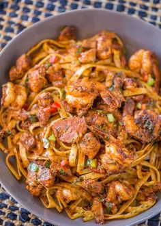 Easy Cajun Jambalaya Pasta with chicken, sausage and shrimp and all the delicious deep Louisiana flavor in just 30 minutes! Easy Cajun Jambalaya Pasta sounds like I'm trying to trick you guys, Best Pasta Recipes, Chicken And Shrimp Recipes, Top Recipes, Healthy Recipes, Seafood Recipes, Shrimp And Sausage Pasta, Donut Recipes, Cajun Shrimp Pasta, Easy Cajun Recipes