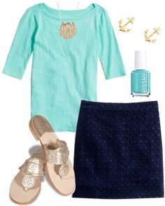 pleaseeeeeeee too all of that. shorely blue lilly top, navy eyelet skirt, anchor earrings, jacks, AND a monogram. all that's missing is a MK watch!