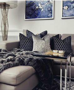 Silver, navy and grey living room