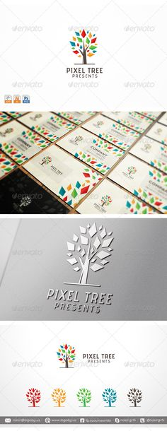 Pixel Tree — Photoshop PSD #print #media • Available here → https://graphicriver.net/item/pixel-tree/7754120?ref=pxcr