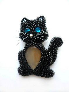 Кот и кошка » beaded_brooch_cat-2